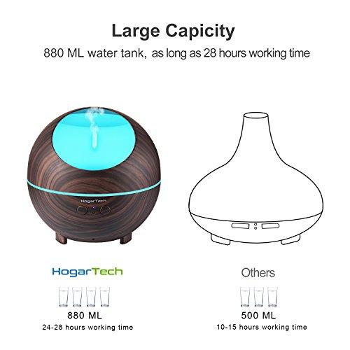 HogarTech 880ml Ultrasonic Oil Diffuser, High Capacity Diffuser, Wood Grain Cool Mist Humidifier for Office Home Study Yoga Spa