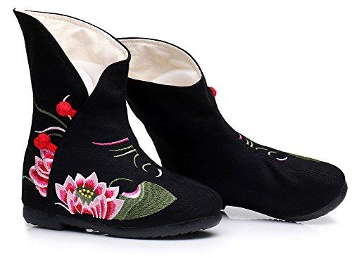 Avacostume Kvinner Lotus Broderi Økning Mote Ankel Boots Svart
