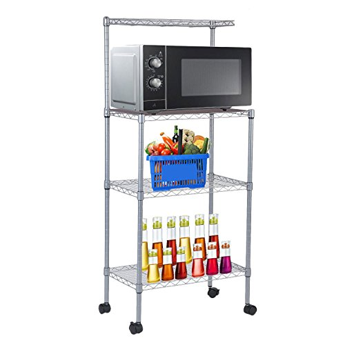 Microwave Oven Stand With Wheel 3-Tier Removable Kitchen Baker's Rack Household Storage Cart Stainless Steel Workstation Shelf Microwave Oven Stand With Wheels 3-Tier Removable Kitchen Baker's Rack by Water-chestnut