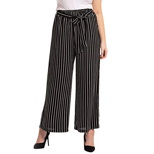 - Women Plus Size Trousers Casual Formal Elegant Ladies Loose Striped High Waist Slim Fitted Sashes Lace Up Bottom Long Pants Trousers