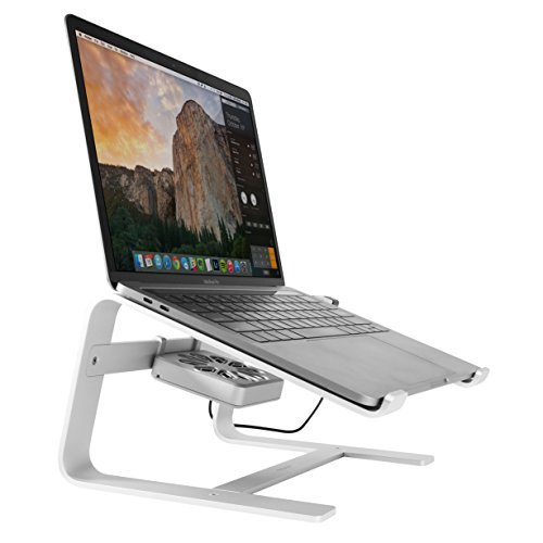 Macally Laptop Stand with Cooling Fan for Desk | Sturdy Aluminum Frame with Apple Finish | Quiet Cooler Fan | Fits All Notebooks from 10