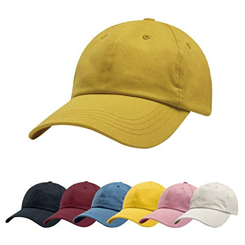 (ZOWYA Classic Cotton Plain Baseball Cap-Dad Hat-Polo Cap-Casual Cap-Unisex-Adjustable Size-Unstructured-Soft Nugget Gold)