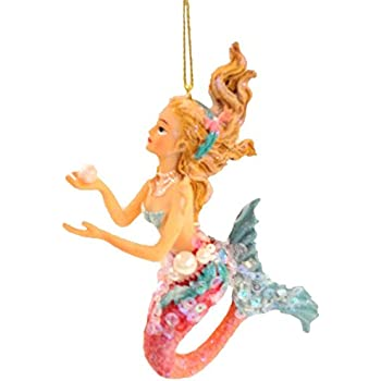 December Diamonds Embellished Mermaid Holding a Pearl Christmas Ornament