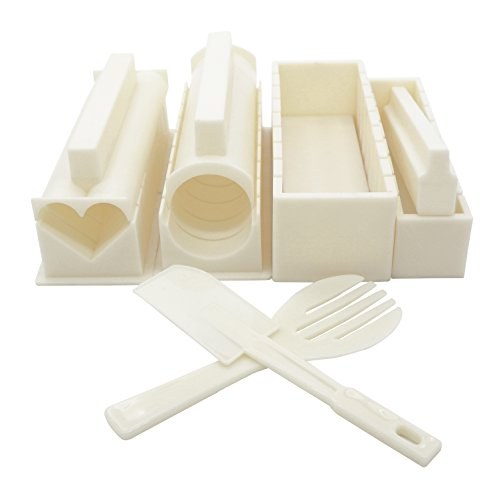 EXZACT EX-SM10 Sushi maker kit 10 pcs/Rice Roll Mold - 5 Unique Mold Shapes - Heart, Round, Pyramid, Square/DIY Japanese cuisine at home/Easy and Fun – Cream White by Exzact
