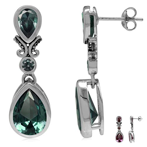 (12x8MM Pear Shape Simulated Alexandrite 925 Sterling Silver Balinese Style Drop Dangle Post Earrings)