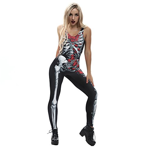 URVIP Women Halloween Skeleton Costume Bone Bodysuit 3D Print Jumpsuit BEM-004 XL]()