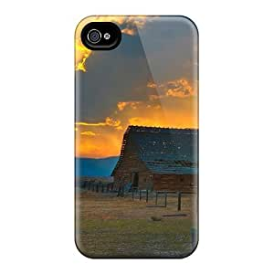 First-class Case Cover For Iphone 4/4s Dual Protection Cover Glorious Sunset Over Old Barn