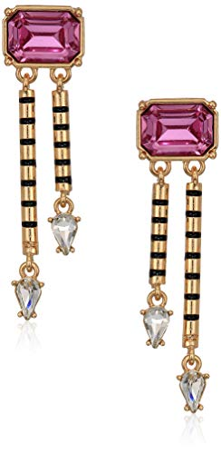 - Steve Madden Women's Pink Emerald Shape Post with Dangle Design Yellow Gold-Tone Earrings