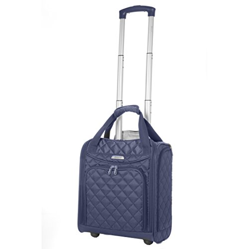 - Aerolite - Aerolite Carry On Under Seat Wheeled Trolley Luggage Bag (Navy)