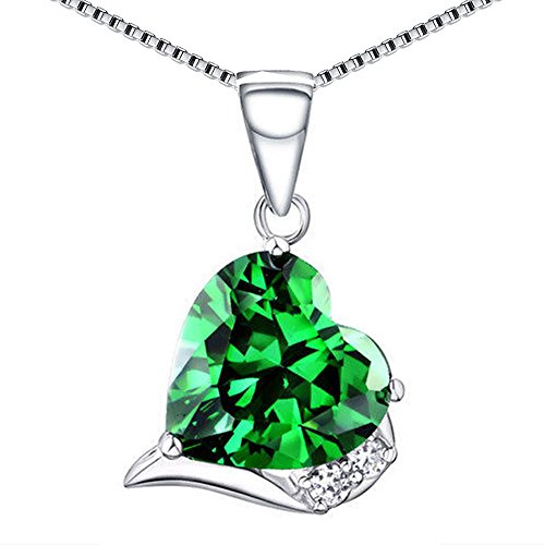 Emerald Gemstone Heart (MABELLA Sterling Silver Heart Necklace Simulated Gemstone Emerald Pendant May Birthstone, Gifts for Women)
