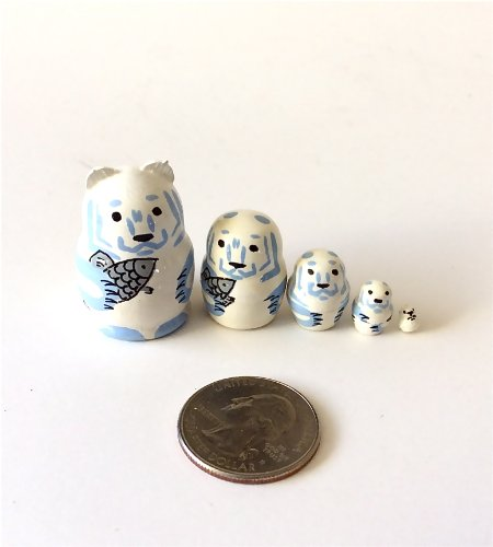 """1.25"""" TALL Polar Bear MINI nesting dolls Russian Hand Carved Hand Painted 5 piece matryoshka Set from BuyRussianGifts"""