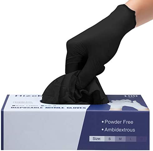 Nitrile Gloves,100 Pcs Disposable Gloves,4 mil,Latex Free,Powder Free,Nitrile Exam Gloves,Textured Extra Strong Cleaning Gloves for Family Use,Black M