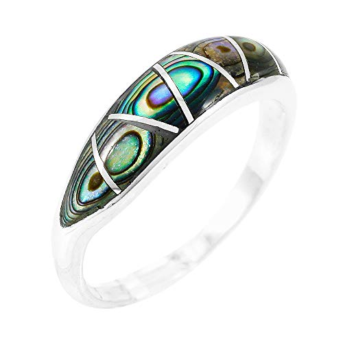 925 Sterling Silver Shell - Abalone Ring Sterling Silver 925 Genuine Gemstones Size 6 to 11 (Abalone Shell) (8)