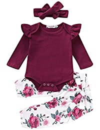 3PCS Infant Toddler Baby Girl Clothes Ruffle Romper Top Long Sleeve Bodysuit + Floral Pants + Headband Outfit...