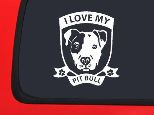 Lifestyle Graphix I Love My Pitbull ~ Terrier Dog Vinyl Decal Auto Truck Window Sticker ()