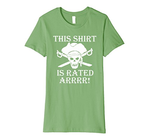 Funny R Rated Costumes (Womens This shirt is Rated R pirate t shirt Large Grass)