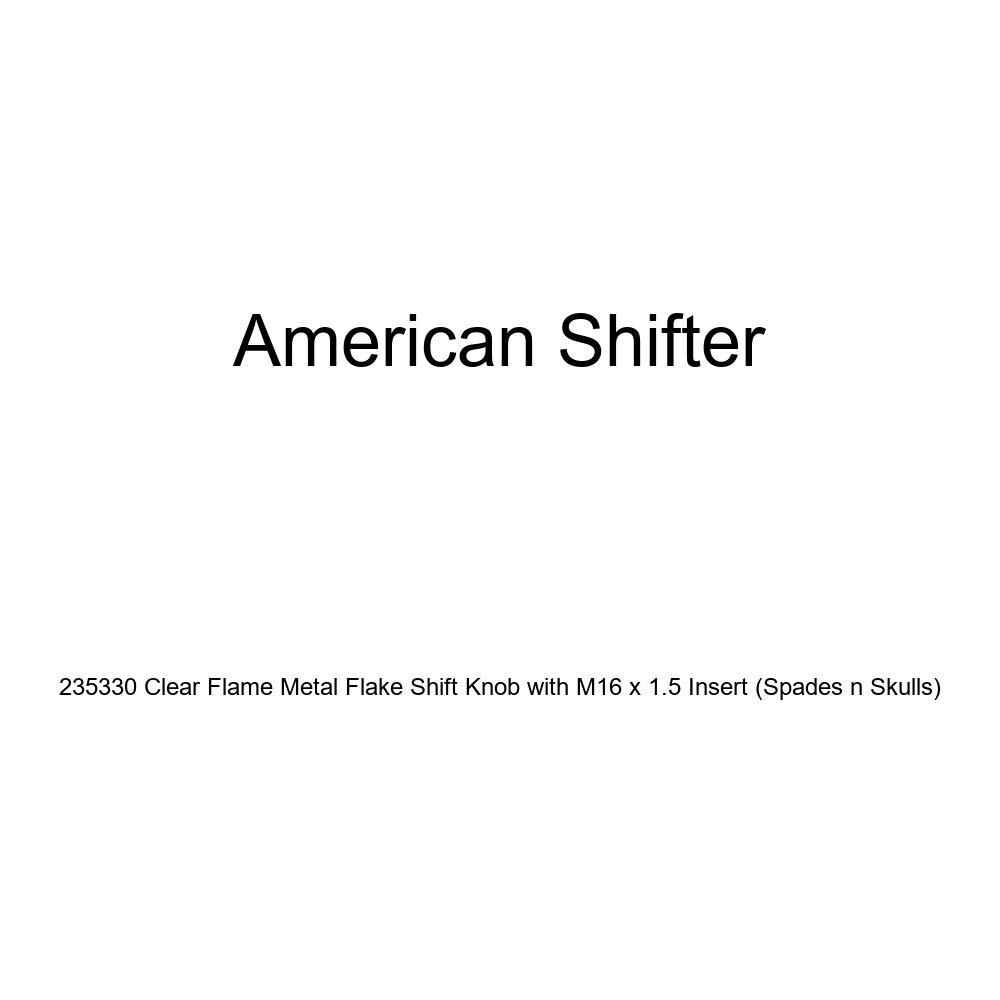 American Shifter 235330 Clear Flame Metal Flake Shift Knob with M16 x 1.5 Insert Spades n Skulls