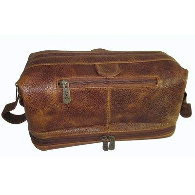 AmeriLeather Leather Toiletry Bag w/Accessories & TSA Approved Bottles for Travel - (Waxy Brown)