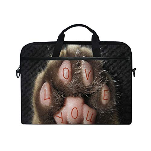 TARTINY 15-15.4 Inch Laptop Bag Cat Has Tattoo On Paw That Shoulder Messenger Bags Sleeve Case Tablet Briefcase with Handle Strap]()
