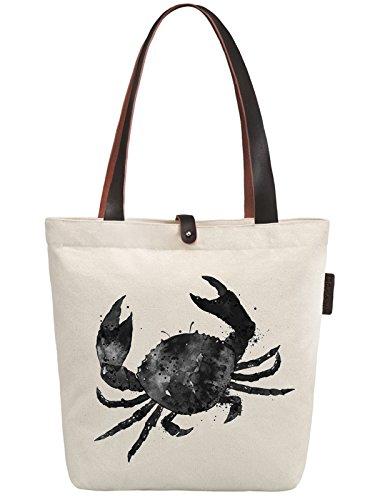 So'each Women's Ink Crab Printed Graphic Canvas Handbag Tote Shoulder Bag