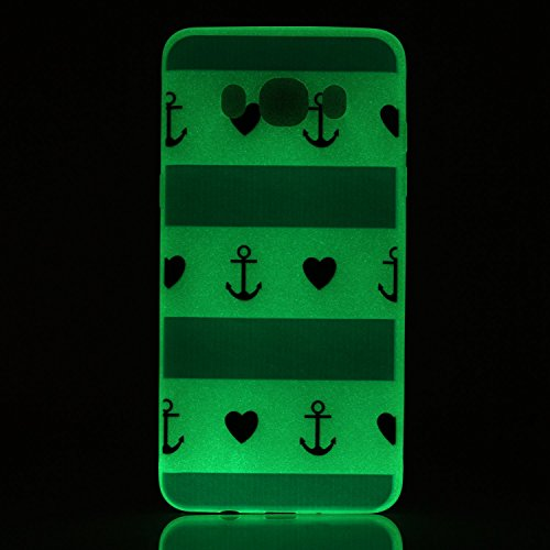 [Extremadamente Delgada] Funda 3D Silicona Transparent para Samsung Galaxy J7 (2016) J710 , Funda TPU Ultra Slim para Samsung Galaxy J7 (2016) J710 , TOCASO Case Fina Slim Fit Cristal Clear, Noctiluce Amor y Ancla