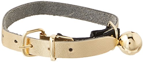 OmniPet Signature Leather Safety Stretch Cat Collars with Bell, Metallic Gold, 8-10