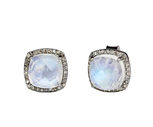 Large Rainbow Moonstone Pave Diamond Square Cushion Cut Stud Earring-12mm by Nadean Designs