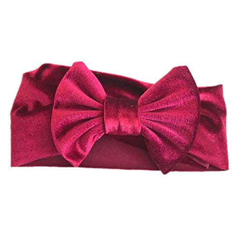 (Soft Baby/Girls Kids Toddler Bow Hairband Headband Turban Big Knot Head-Wrap (Color - Wine Red))