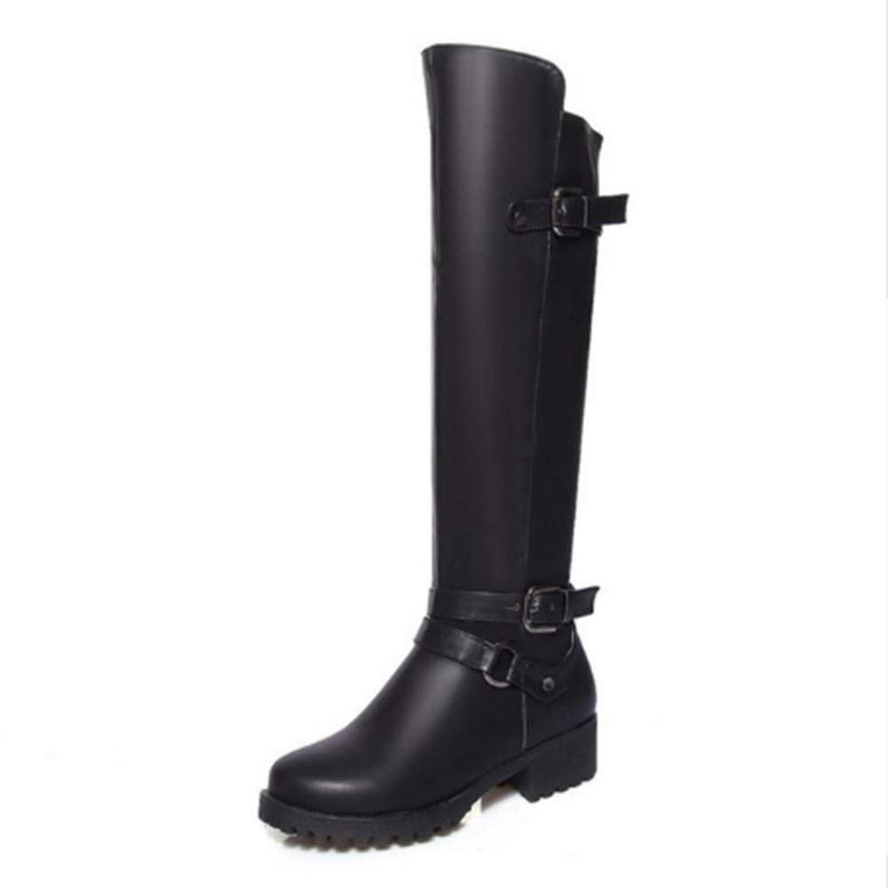 FMWLST Bottes Hiver Bottes Montantes pour Femmes, Hiver Bottes Chaud, Chaussures pour Femmes Moto Chaussures À Talons Épais 34 a4b6ea