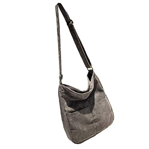 BOBILIKE Women Shoulder Bags Corduroy Crossbody Bag Handbag Purse Schoolbag, Grey