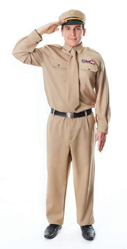 World War Ii General Costume (1940s World War 2 Army General Male Fancy Dress Costume by Parties Unwrapped)
