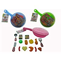 Papa N Me Store 16 Pieces Toy Pots and Pans Kitchen Accessories and Safe Pretend Play Cookware for Toddler Kids(Color May Vary)