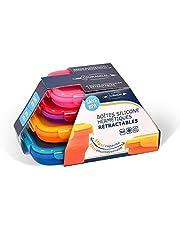 Lot de 4 boites en silicone hermétiques et rétractables - Coloris Flashy - Violet