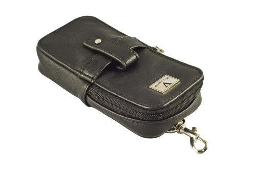 Valentia Cigars Case (holds 3 Cigars/Cutter/Lighter), Synthetic Black Leather