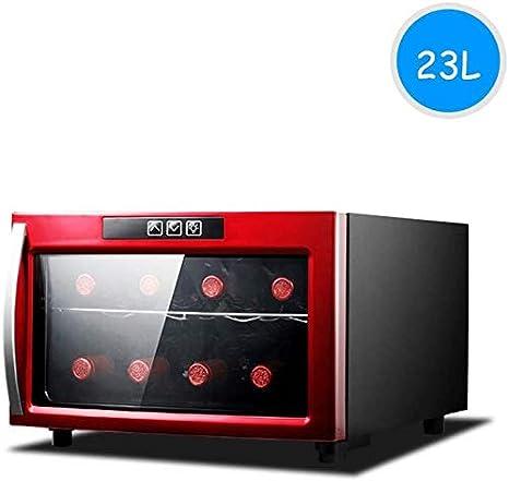TYUIO 8 Botella de Vino termoeléctrico encimera de Refrigeración/Chiller Rojo y Blanco Bodega con Digital Pantalla de Temperatura, Horizontal, Independiente Frigorífico Cristal Ahumado Puerta funcio