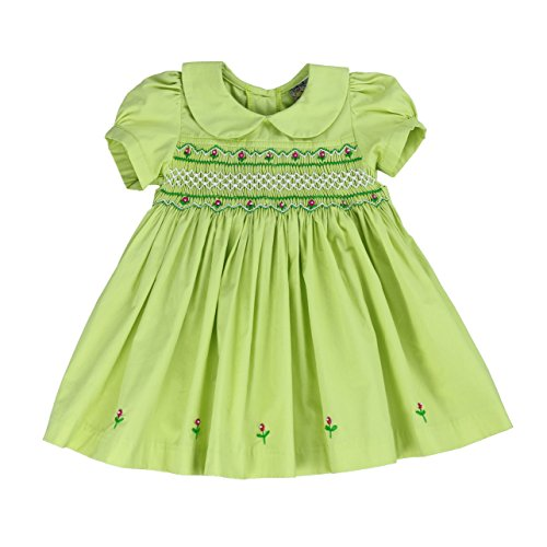 sissymini- Infants and Toddlers Light Cotton Hand Smocked Dress Charlotte Kate- Lime Green 4T