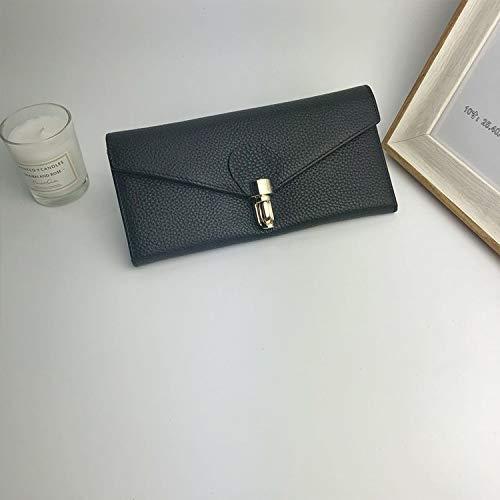 Black YOIOY Envelope Clutch Bag Korean Version of The Long Wallet Ladies Clutch Bag Leather Wallet Female (color   Black) (color   Green)