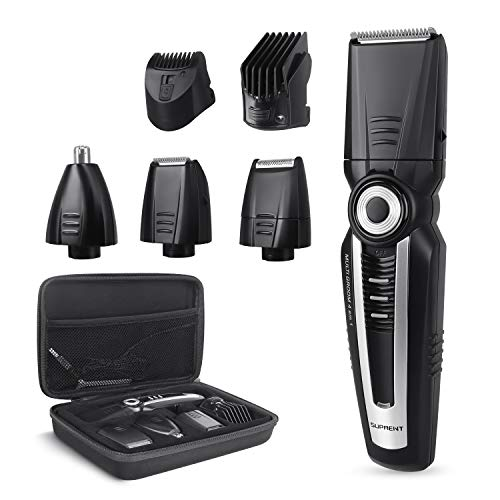 - SUPRENT Beard Trimmer Kit with Travel Case, 4 in 1 Body Groomer Kit of Mustache Trimmer, Nose Hair Trimmer and Precision Trimmer, Rechargeable Cordless