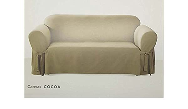 amazon com surefit one piece canvas sofa slipcover cocoa home rh amazon com  sure fit canvas sofa slipcover