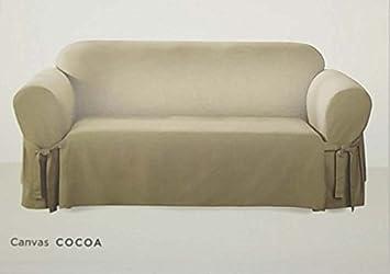 Amazon Com Surefit One Piece Canvas Sofa Slipcover Cocoa Home