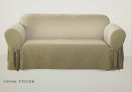 Exceptionnel Surefit One Piece Canvas Sofa Slipcover   Cocoa