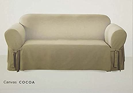 Surefit One Piece Canvas Sofa Slipcover   Cocoa