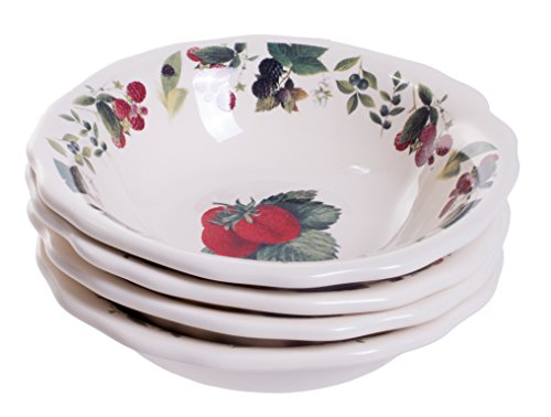 Farmhouse Country Cottage Style Ceramic Berry Bowls - Set of