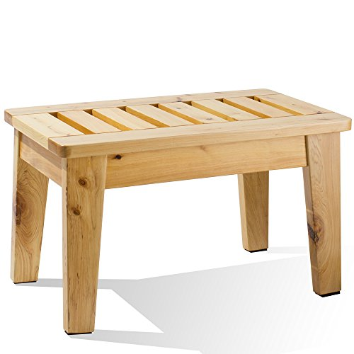 (Frisby Natural Hardwood Birch Wooden Backless Shaker Style Slated Bench Stool)