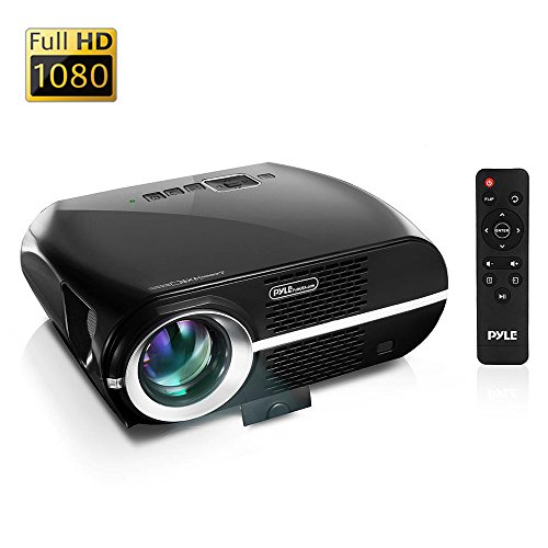 "Updated Pyle Video Projector 5.8"" LCD Panel LED Lamp Cinema Home Theater w/ Built-in Stereo Speakers 2 HDMI Ports and Keystone Adjustable Picture Projection for TV PC Computer and Laptop (Versatile Entertainment Laptop)"