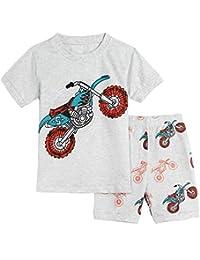 MOMBEBE COSLAND Boys' Cotton Summer Pajama Sets Two Piece Set