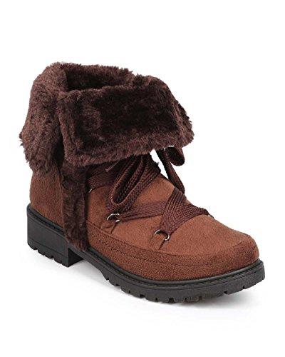Bumper DD54 Women Suede Folded Zip Fur Winter Boot - Brown