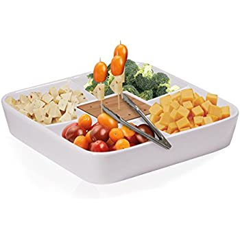 Durable White Ceramic Serving Platter With Serving Tong, Divided Serving  Tray For Appetizers, Salad