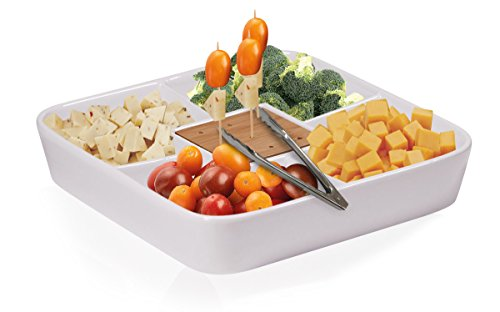 Durable White Ceramic Serving Platter with Serving Tong, Divided Serving Tray for Appetizers, Salad Bar with Bamboo Toothpick Holder ()
