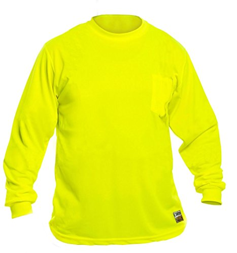 Bright High Visibility Long Sleeve T-Shirt: Construction Safety Hunting Work and Outdoor T Shirts with Perimeter Guard Insect Repellent - XL Yellow